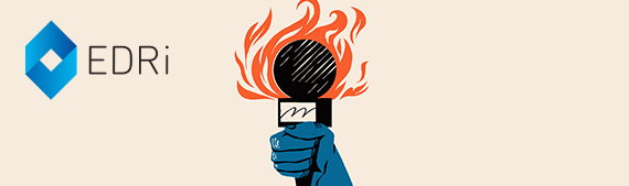 Illustration of a blue hand holding a microphone that is on fire